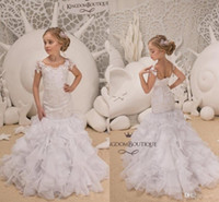 Wholesale corset gown flower skirt for sale - Little White Lovely Short Sleeve Mermaid Girl Pageant Gowns Sheer Neck Lace Appliqued Tiered Skirts Corset Back Flower Girl Dresses