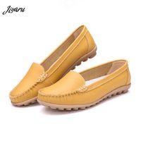дамы размер 35 повседневная обувь оптовых-Summer Casual Flats Woman Split Leather Flats Lightweight Shoes Ladies Slip on Loafers Girls Breathable Shoes Large Size 35-41