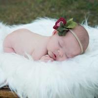 kürk bebek örtüleri toptan satış-Yenidoğan Fotoğraf Arka Planında Faux Kürk Bebek Battaniye Çocuklar Sepet Dolgu Stuffer Yatak Seti 50 * 60 CM 10 Renkler