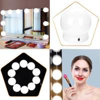led aydınlatma toptan satış-10 Adet Vanity LED Ayna Işık Makyaj Ayarlanabilir Comestics Ayna Işık Dim Işıkları Ampul Parlaklık Make UpLights Ile Kitleri