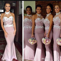 Wholesale junior dress white halter lace for sale - Group buy 2019 Halter Mermaid Bridesmaid Dresses Backless Sweep Train D Flowers Appliques Garden Country Wedding Guest Gowns Maid Of Honor Dress