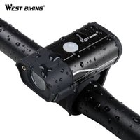 luces de ciclismo al por mayor-West Biking Bike Light Recargable Bicicleta de la lámpara delantera Led manillar linterna 350 Lumen Mtb carretera Ciclismo accesorios faro C19041301