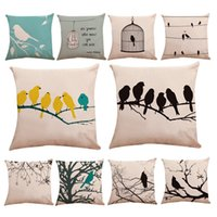 Wholesale blue bird pillow cover for sale - Group buy Flax Pillow Case Branch Little Bird Cage Sparrow Pattern Pillowslip White Green Blue Cushion Cover Hot Selling sy L1