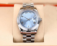 Wholesale dial watch for sale - Hot Sale Automatic Movement Day Date Watch Men Blue Dial Stainless Band Male Watch Montre Homme