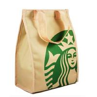 kühles mittagessen großhandel-Starbucks Cooler Wärmeisolationstasche Tragbare Lunch-Picknicktasche Frau Verdickung Wärmebrustkühltaschen Starbucks Handtasche