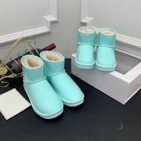 helle stiefel groihandel-Die neuesten Designer-Stiefel hochwertige modische helle Farbe erwachsene Kinder aus 100% Leder Wolle warme Stiefel Schneefeld Laufqualität EU 26-