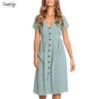 klasik tasarımcı kıyafetleri toptan satış-Cepler Kısa Kollu Tasarımcı giysi ile Moda Kadın Sonbahar Klasik Elbiseler Uzun Kollu V Yaka Düğme Dekoratif Salıncak Midi Elbise
