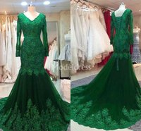 Wholesale evening dresses for sale - Luxury Lace Mermaid Evening Dresses V Neck Illusion Long Sleeves Beaded Sweep Train Party Prom Gown Appliques Modern Vestidos De Fiesta