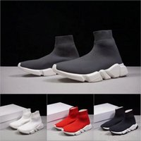 nuevas botas de velocidad al por mayor-Nuevas botas de calcetines de velocidad Zapatos casuales Zapatillas de deporte de alta calidad para hombre y mujer Zapatos de diseño Speed Stretch-knit Mid Sneakers Tamaño Eur 36-45
