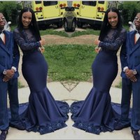 Wholesale maternity dresses for prom for sale - Group buy Navy Blue Keyhole Neck Long Sleeves Prom Dresses See Through Sheer Lace Applique Plus Size Evening Gowns For Black Girl Party Dress