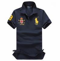 moda de la marca del polo al por mayor-Para hombres Diseñador POLO Ralph American brand design hombres algodón doble hebilla polo camisa moda vanguardista directo de fábrica