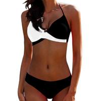 aba93c3234ad Biquíni Sexy Dividir Tipo Maiô para Senhoras Das Mulheres Sexy Preto e  Branco Swimwear Com Almofada No Peito E Popular Cor Womens Bandage Swimwear  Terno