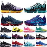 лучшие недорогие кроссовки оптовых-Nike Air Vapormax TN Plus Olympic Геометрическая Черный Белый Розовый Высотные Дух чирок Сетка печати лимон лайм мужские женские кроссовки дизайнерские кроссовки 36-45