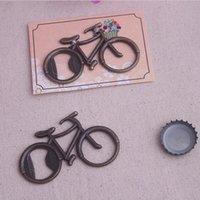 bisiklet kartları ücretsiz gönderim toptan satış-Vintage Metal Bisiklet Bisiklet Şekilli Bira Şişe Açacağı Bisiklet Lover Düğün Favor Parti Hediye Için Kart Ambalaj DHL Ücretsiz Kargo