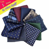 Wholesale handkerchief dotted for sale - Group buy Men Luxury Polyester Silk Handkerchief Flower Dots Stripe Pocket Square Wedding Hanky Party Christmas Chest Towel