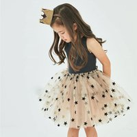 3e3c7ee71 2019 summer design baby girls Bronzing star dress children Sleeveless vest  Princess lace Tutu Dress fashion kids boutiques clothing C6484