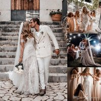 Wholesale bohemia wedding dresses for sale - Group buy 2020 Bohemia Lace Beach Wedding Dress Sexy Off the Shoulder Vestido De Noiva Lace Short Sleeve Backless Boho Wedding Gowns