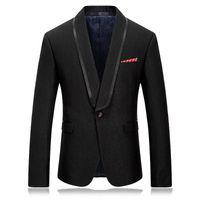 черные официальные мужские куртки оптовых-2018 New Casual Fashion Formal Men's  One Button Slim Fit Men's Black-Solid Suit Separate Blazer Jacket wedding jackets