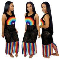 Wholesale round long shirt design for sale – custom Women Design Mesh Dress Hollow Out Long Tassel Dresses Beachwear Summer Rainbow Color Bodycone Skirt Biniki Swimwear Cover ups S XL A52106