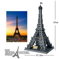 la construction de la tour eiffel achat en gros de-Diamant Blocs Architecture De Célèbre Architecture Paris Tour Eiffel Mini 3D Modèle Building Blocks Assemblée BRICOLAGE Jouets
