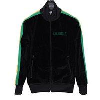 ingrosso women s black velvet jacket-Giacca Palm Angels Rainbow Retro Street Velvet Nero Comfort Zipper Zipper per uomo e donna Giacca Hfwpjk080