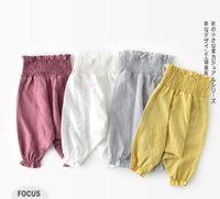 ingrosso pantaloni pp del bambino di estate-Pantaloni per bambini Designer abiti per bambini Pantaloni estivi per ragazze tinta unita Pantaloni tuta all-match 100% cotone anti-zanzara bambina pantalone PP