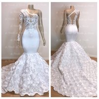 Wholesale blue flowers photos online - Luxury See Through White Mermaid Prom Dresses One Shoulder Sheer Long Sleeves D Flowers Floral Lace Applique Evening Gowns BC0963