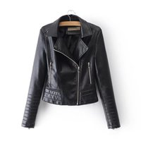 201spring Herbst neues Reißverschluss Motorrad PU Lederjacke weiblich, reine Farbe gut aussehende dünne geprägte PU Lederjacke der Frauen