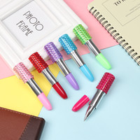 Wholesale novelty diamond pen for sale - Group buy 1PC NEW Diamond on Top Lipstick Pen Creative Ballpoint Pen Colored Ball Signature Pens Gift School Supplies Novelty Stationery