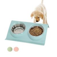 tigela de prato duplo venda por atacado-Aço inoxidável Duplo Pet Bowls Alimentador de Água para Cachorro Pequeno Cão Gatos Animais de Estimação Suprimentos Alimentação Pratos