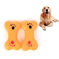 ossos interativos venda por atacado-Cão de Estimação Squeak Osso De Borracha Osso Forma Squeak Som Brinquedos de Mastigação Interativa Chew Para Pequeno Cão Filhote de Cachorro Suprimentos