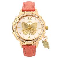 pulseira de pingente de borboleta relógios venda por atacado-Novo Relógio de Mulher de Quartzo Relógio de Pulso Torre de Borboleta Strass Pingente Pulseira Relógios Senhoras Strass Rodada Dial Relógio