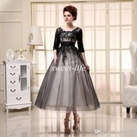 Wholesale mothers bride free shipping dresses for sale - Group buy SQ18016 A Line Mother of the Bride Dresses Black Half Sleeves Party Dress Lace Up Tea Length Applique Lace Evening Gowns