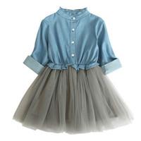 baby mädchen lange kleider großhandel-2019 neue mode babykleidung mädchen rüschen lange ärmel Denim mesh patchwork kleid 2 Farbe niedlich prinzessin kleid