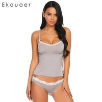 ingrosso cime in pizzo cami-Ekouaer Donne Estate Sexy Pigiama Set morbido cotone Sleepwear Lace Spaghetti Strap Nightwear Trim Slim Fit Cami Top E Slip J190613