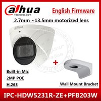 dahua mount toptan satış-Dahua IPC-HDW5231R-ZE 2MP WDR IR Gözküresi 2.7mm ~ 13.5mm Motorlu Mic Ağ Kamera IPC-HDW5231R-Z Duvar Montaj Braketi PFB203W