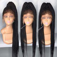 длинные парики оптовых-Perruque Long Cornrow Плетеный синтетический парик фронта шнурка Черный / коричневыйЦветные микро-косы с волосами младенца жаропрочные для афро-американских