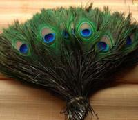 plumas de pavo real libres al por mayor-Elegantes materiales decorativos Real Natural Peacock Feather Hermosas Plumas de 25 a 30 cm de envío gratis