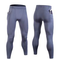 спортивные легкие legging оптовых-Hot Sale Compression Pants Sports Running Tight Men Jogging Legging Fitness Gym Clothing Sportswear Elastic Pants Zipper Pockets