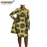 женские платья оптовых-2018 african clothing 2 pieces set for women AFRIPRIDE full sleeve knee-length jacket+sleeveless knee length dress set A1826029