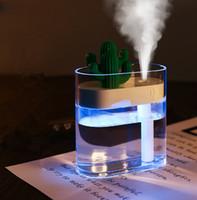 purificador de aniones al por mayor-160 ML Humidificador de Aire Ultrasónico Claro Color de Cactus Luz USB Aceite Esencial Difusor Purificador de Coche Aroma Difusor Anión Mist Maker