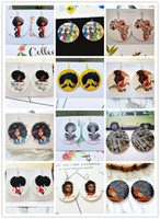 dunhuangwang Exaggerated African head pattern geometric round wooden earrings Fashion wood earrings