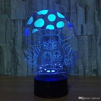 hafif ev 3d toptan satış-Yaratıcı Akrilik 3D Renkli USB mantar ev NightLight Gradyanları Karikatür Led Masa Lambası Aydınlatma Yatak Odası Dekor Işık Fikstür