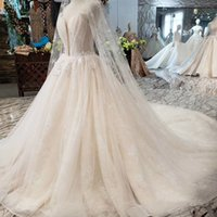 Wholesale shells training resale online - 2019 Newest Style Shell Chest Wedding Dresses Illusion Deep V Neck Strapless Lace Up Back Long Sheer Veil Sequins Crystal Beach Bridal Gowns