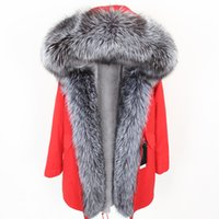 меховая одежда оптовых-new fashion Oversized  fur collar Removable lining Parker Mid-length coat women's clothing Keep warm in winter
