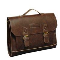 114ab5d571370f Famoso marchio Crazy Horse PU Leather uomini valigetta Messenger Bag  maschile Borsa per notebook Business borsa a tracolla borse da viaggio