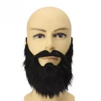 bigode de bigode falso venda por atacado-O partido engraçado do traje Homens Halloween Barba, Bigode, bigode falso Facial Disguise cabelo