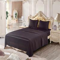 Wholesale black silk king comforter online - Black Imitation Silk Summer Beddingset Queen King Size Beddingset Mattress Cover Bed Sheet Pillowcases Comforter Bedding Sets