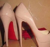 ingrosso tacchi neri 45-Classic Brand Red Bottom Tacchi alti 14cm tacco piattaforma pumps Nude / nero in pelle verniciata Peep-toe donne vestito sandali scarpe taglia 35-45