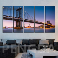 Wholesale city bridge paintings resale online - Prints Painting HD Pictures City Building Bridge Home Decoration Wall Art HD Modular Canvas Poster Bedside Background Framework